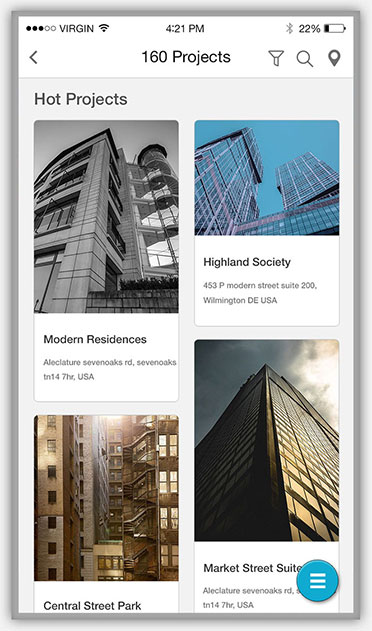 real estate & developers Projects Grid Views